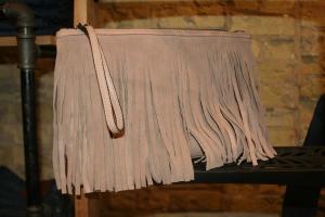 BCBG blush fringe purse